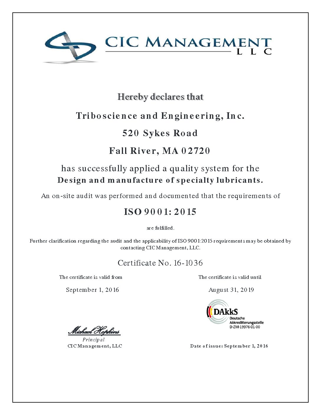 Certifications - Triboscience & Engineering